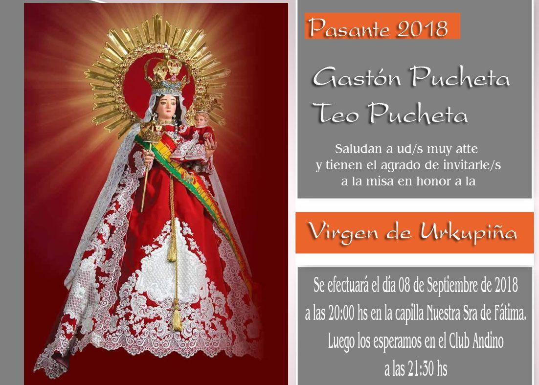 Invitacion Misa Para Pasantes Virgen Urkupiña Impresion