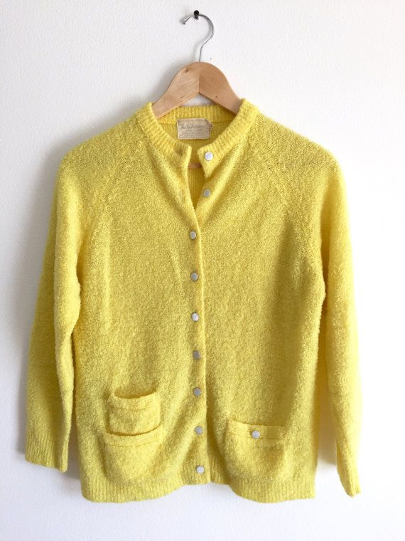 Yellow Cardigan with Pockets / Lemon Yellow Handmade Button Up ...