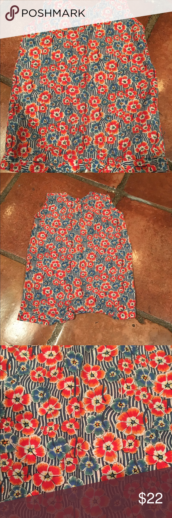 Makie Striped Floral Romper The cutest lightweight romper!!! Silk/cotton blend, very soft with no signs of wear. Tag reads 3 mo. Pet and smoke free home. Makie One Pieces Bodysuits