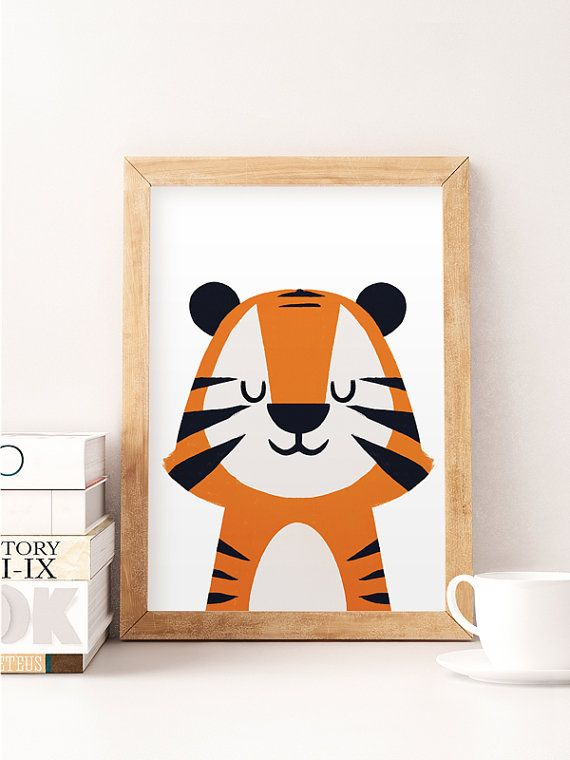 Little tiger art Tiger nursery print Animals nursery art Cute