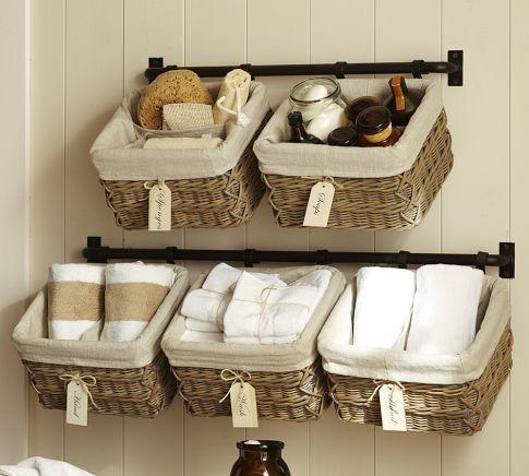 Wall Basket System For Bathroom Storage
