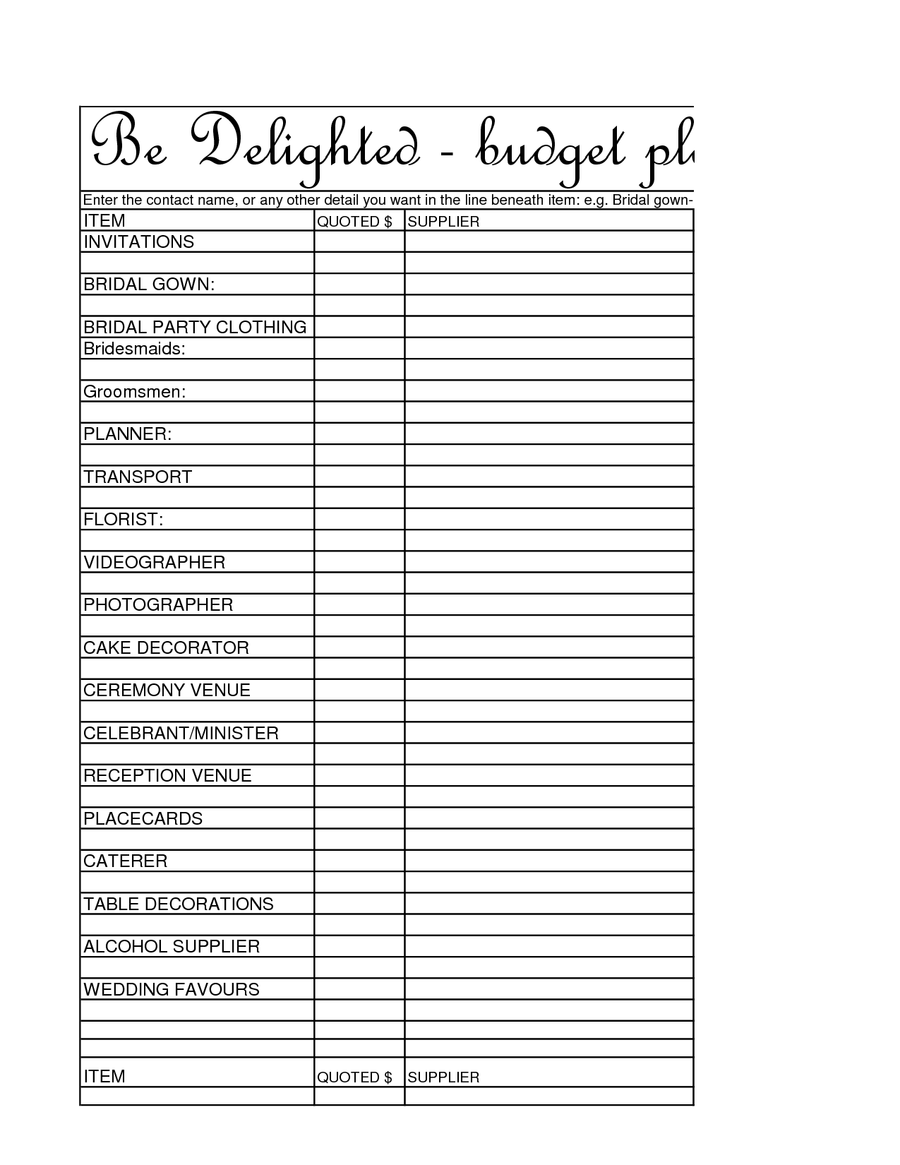 Free Wedding Budget Planner In