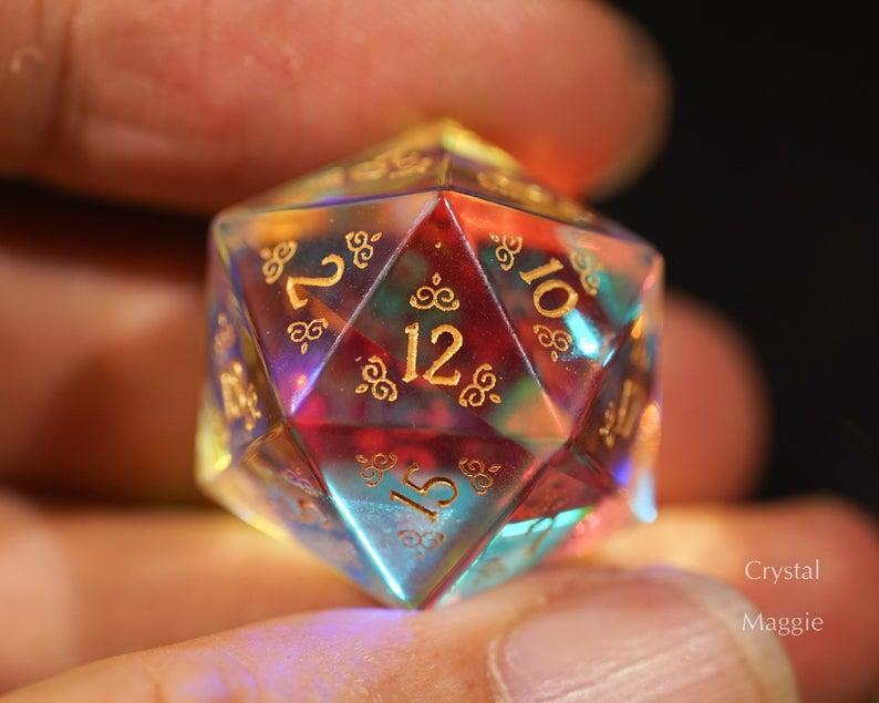 Fantastic Glass Gemstone Dnd Dice Set Engrave Font A Gold Ink