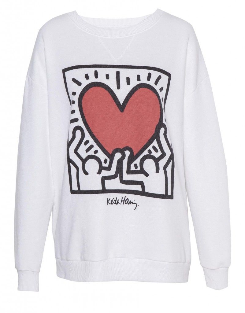 Valentines Day sweatshirt with Keith Haring graphics, Pull&Bear