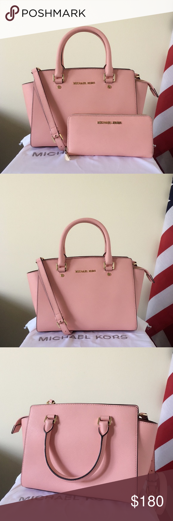 bee29f23b1a77e Michael Kors Selma Medium With Wallet Beautiful set! Pale pink Saffiano  leather with gold detailing! Lightly used! Authentic! The Selma is in medium  size, ...
