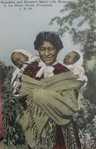 Maori woman with two babies