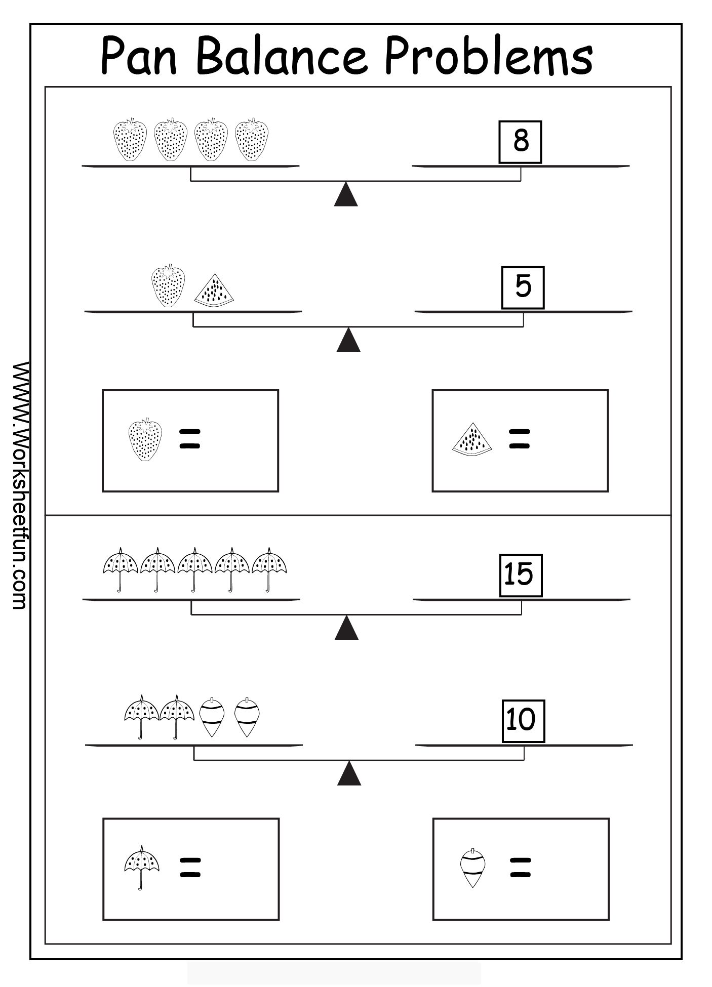 pan balance problems - 15 worksheets | printable worksheets