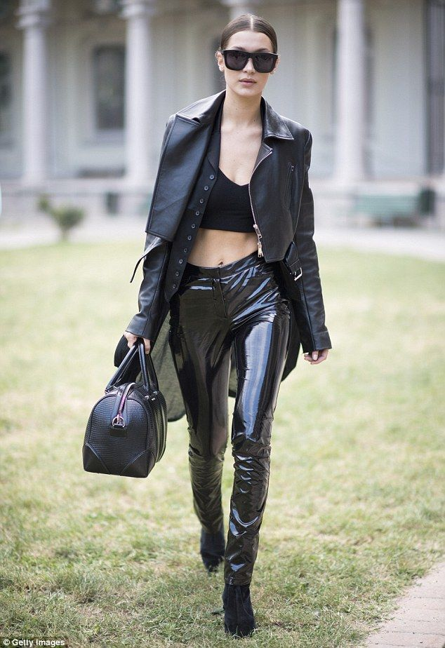 6dac65e829a5f Biker chick  Bella Hadid was not disappointing as she hit her third stop at  Milan Fashion Week on Wednesday - where she looked sensational in a super  racy ...