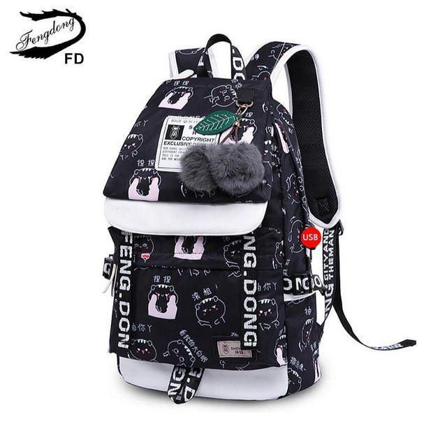 903cb785db FengDong school bags for teeange girls cute Chinese characters printing  backpack black cartoon bag to school children backpacks