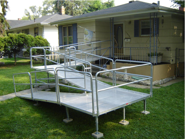 Best Aluminum Sectional Ramp With Double Bar Handrails And Ada 400 x 300
