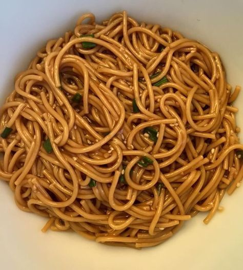 Instant Pot Sesame Noodles  1 cup water 1/4 cup soy sauce 2 tsp maple syrup 1/4 cup rice vinegar A few shakes of ground ginger 2 cloves minced garlic 2 tbsp sesame seed oil  Add to the pot then add about 1/2 of a box of dry spaghetti noodles broken into thirds Give it a quick stir and set on manual for 5 minutes. Use a quick release. Thicken the sauce with a little cornstarch and water and then topped with sesame seeds and chopped green onions.