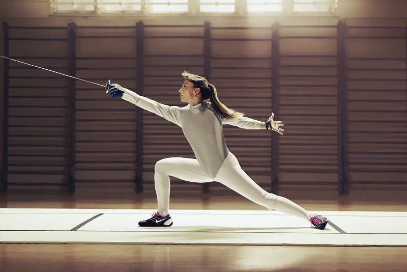 Fencing Perfect Extended Lunge Notice The Security Of