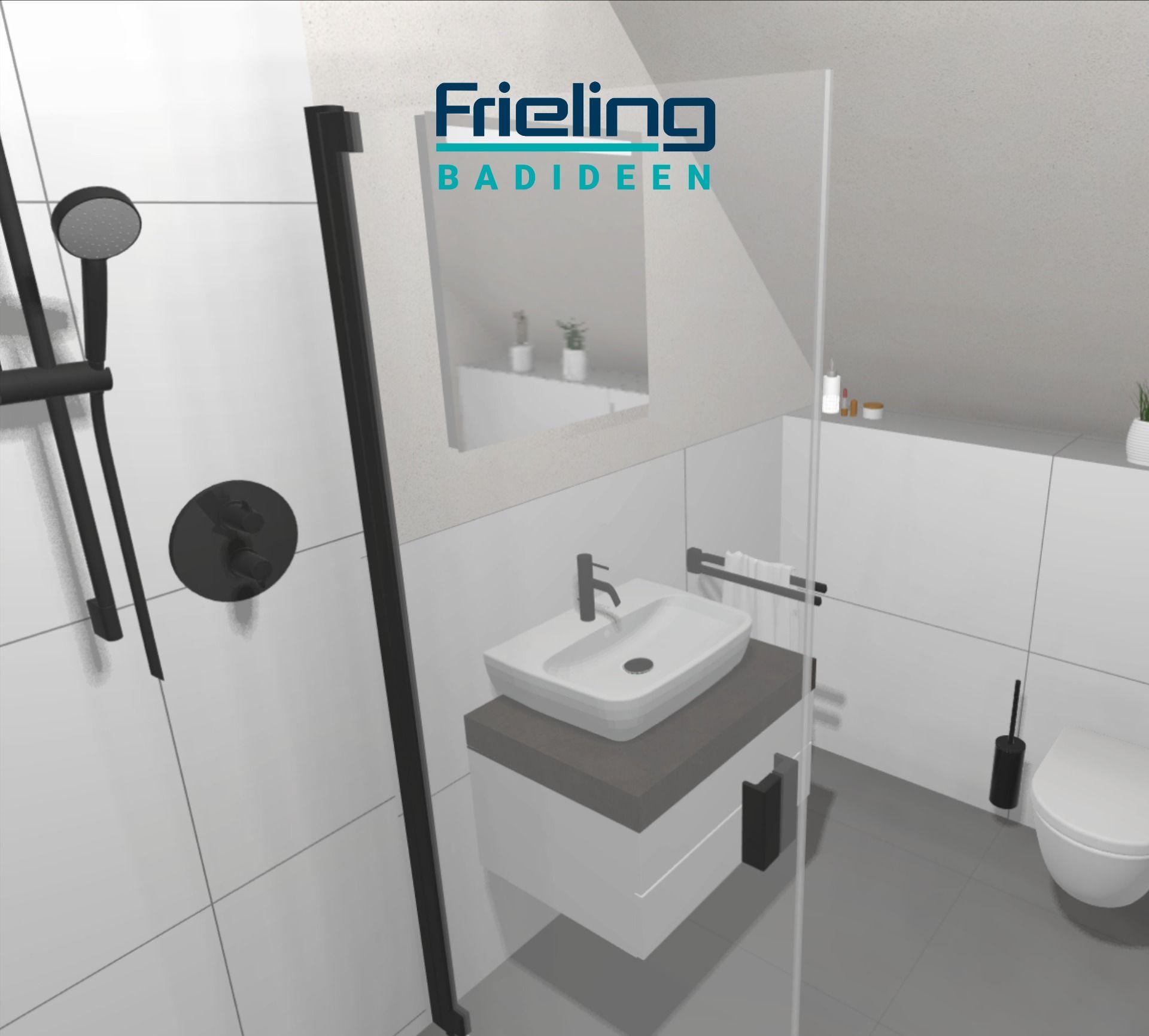 Das kleine Bad + schwarze Armaturen  19D-Planung  Gästebad  19 qm