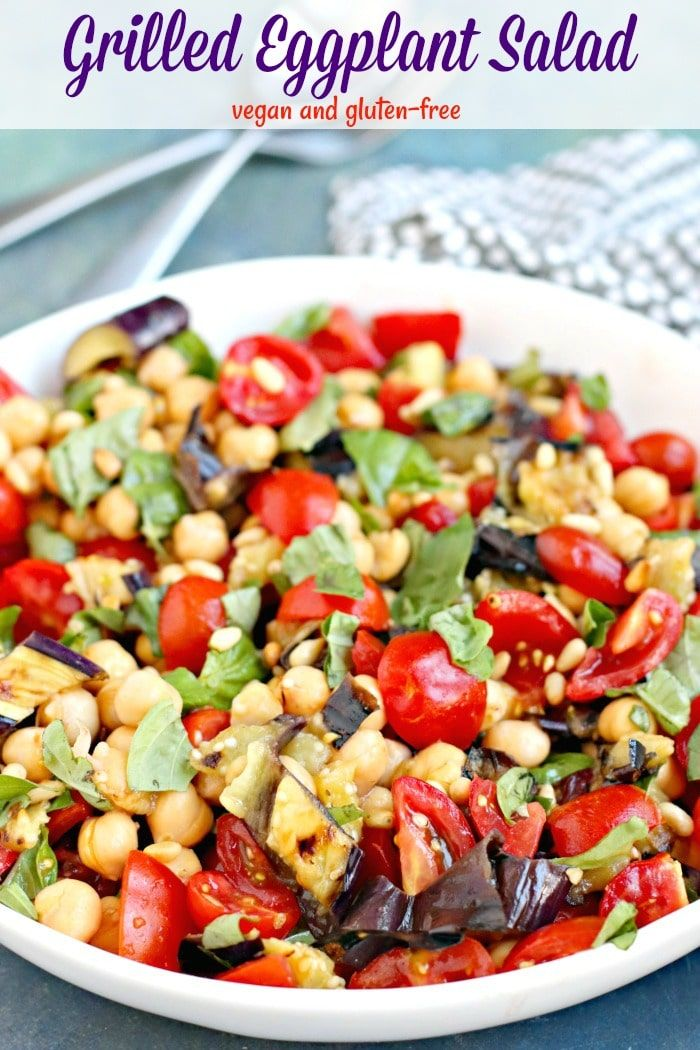 Grilled Eggplant Salad With Chickpeas And Tomatoes Veggies Save The Day Recipe Grilled Eggplant Vegan Salad Recipes Best Vegan Salads