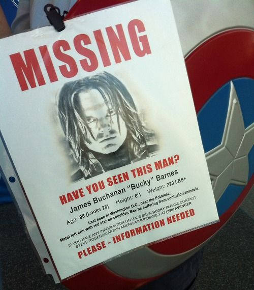 Bucky\u0027s missing person poster Somebody find this cosplayer and