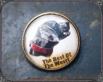 Western/Country brooch picturing a dog, 20mm cabochon brooch Western/Country Brosche mit einem Hund unter 20mm Cabochon