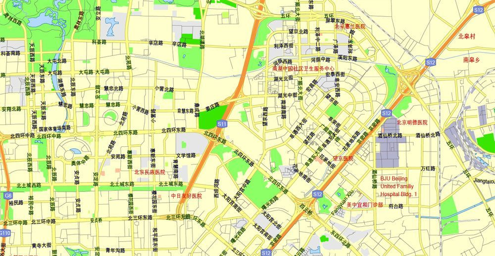 Pdf Map Beijing China Printable Vector Street G View Level 13