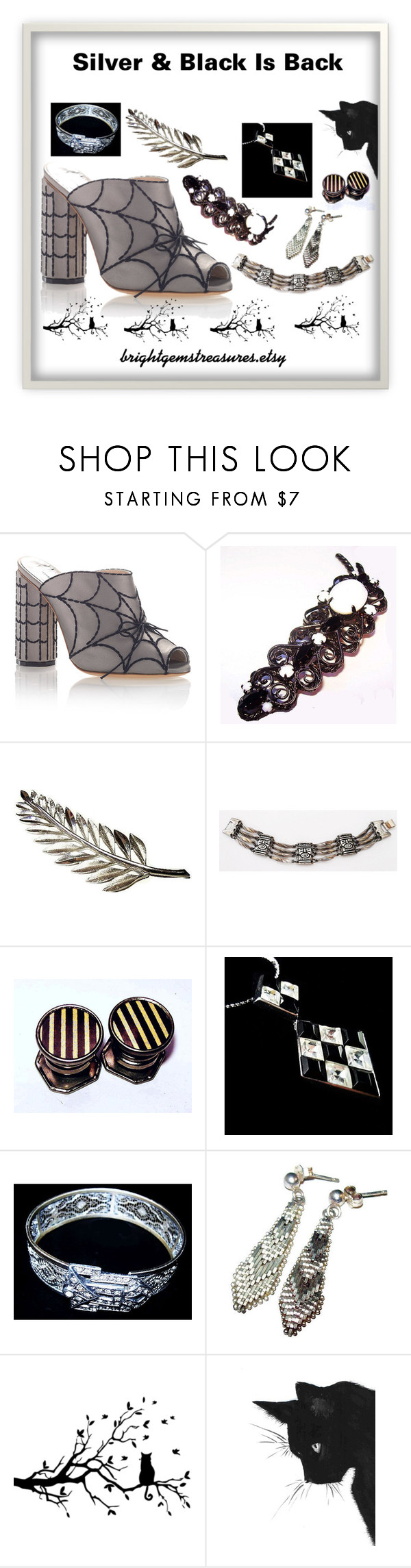 """silver & black is back"" by brightgemsu ❤ liked on Polyvore featuring Marco de Vincenzo, Trifari and WALL"