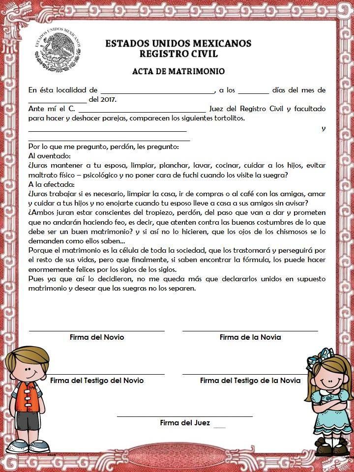 Matrimonio Definicion : Acta de matrimonio para kermess ideas escolares