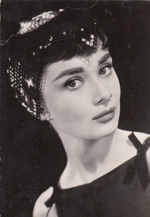 Audrey Hebpurn. Vintage real photo postcard. by ParisBookandPaper