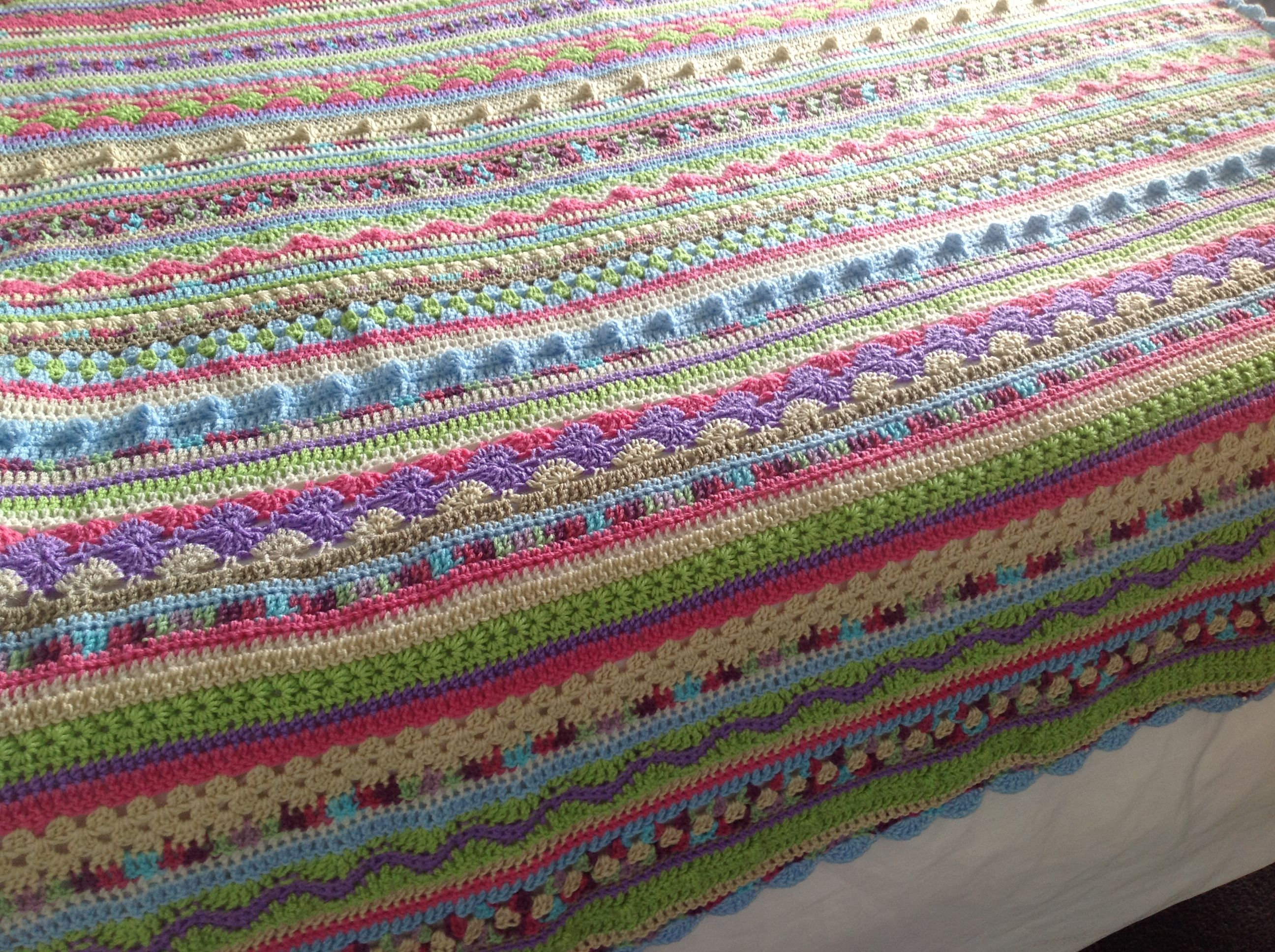 Done. Striped crochet blanket. Great for practising different ...