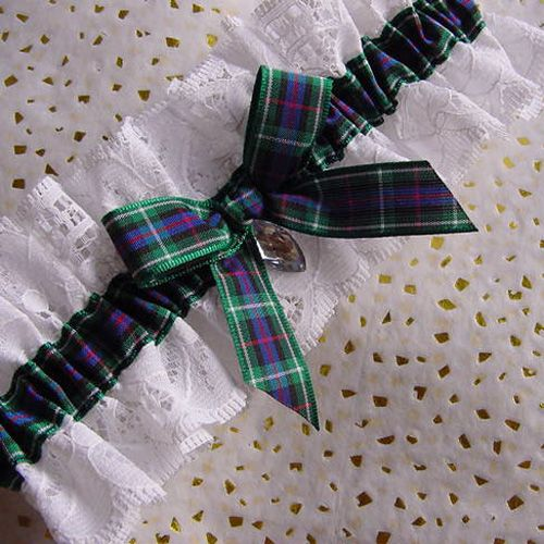 Rose Scottish National Tartan Wedding Garter With White