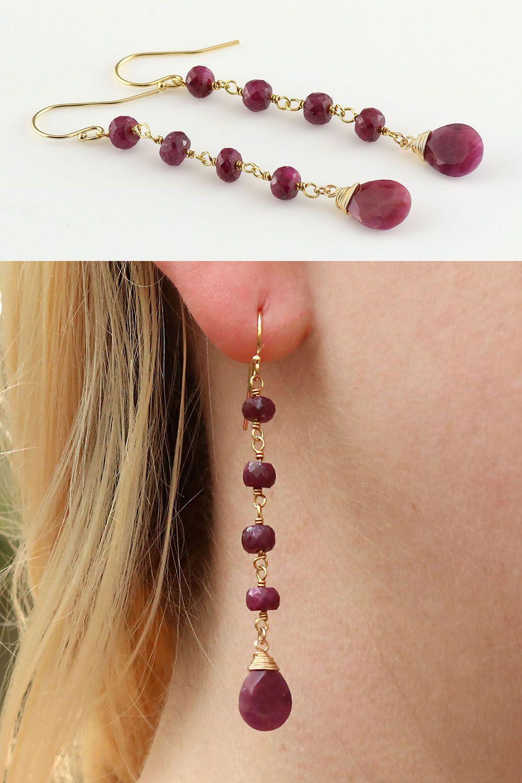 14K Yellow Gold Beads Strands Amethyst Tassel Dangle Earrings Jewelry for Women