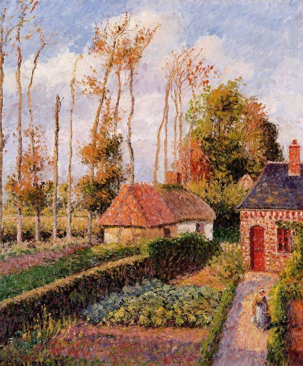 Camille Pissarro ~ Autumn at Eragny is part of Camille pissarro, Camille pissarro paintings, Impressionist paintings, Painting, Canvas art prints, Painting reproductions - Camille Pissarro [18301903] was a DanishFrench Impressionist and NeoImpressionist painter  His importance resides in his contributions to both Impressionism and PostImpressionism  Pissarro studied from great forerunners, including Gustave Courbet and JeanBaptisteCamille Corot  He later studied and worked alongside Georges Seurat and Paul Signac when he took on the NeoImpressionist style at the age of 54