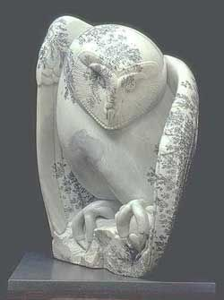 A photo of Midnight Mouser, a dendritic soapstone sculpture by Clarence P. Cameron