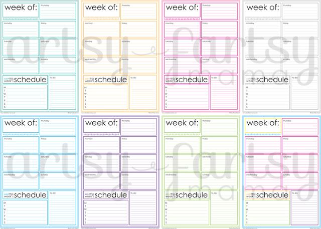 printable week at a glance