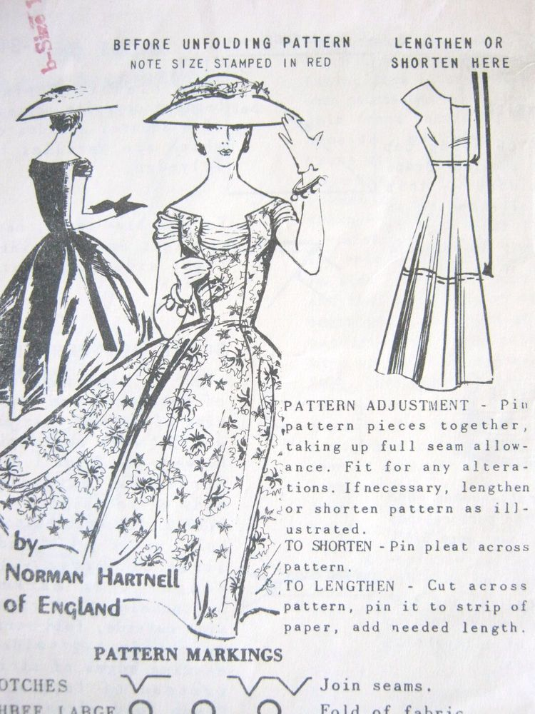 Norman Hartnell 1950s Spadea Uncut Dress Pattern S-311 b - Size 14 ...