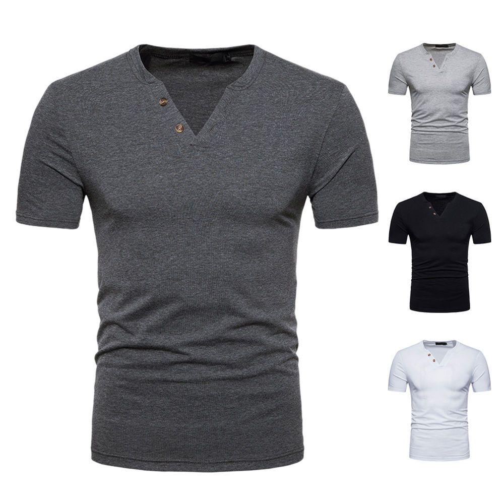 896db849ae1 Stylish Mens Slim Fit V Neck Short Sleeve Casual T-Shirt Button Shirt Tops   fashion  clothing  shoes  accessories  mensclothing  shirts