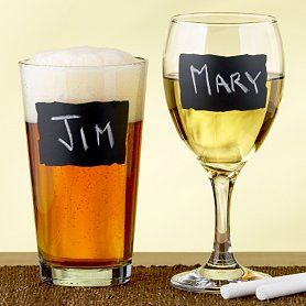 Another chalkboard paint idea for wine glass/beer glass..