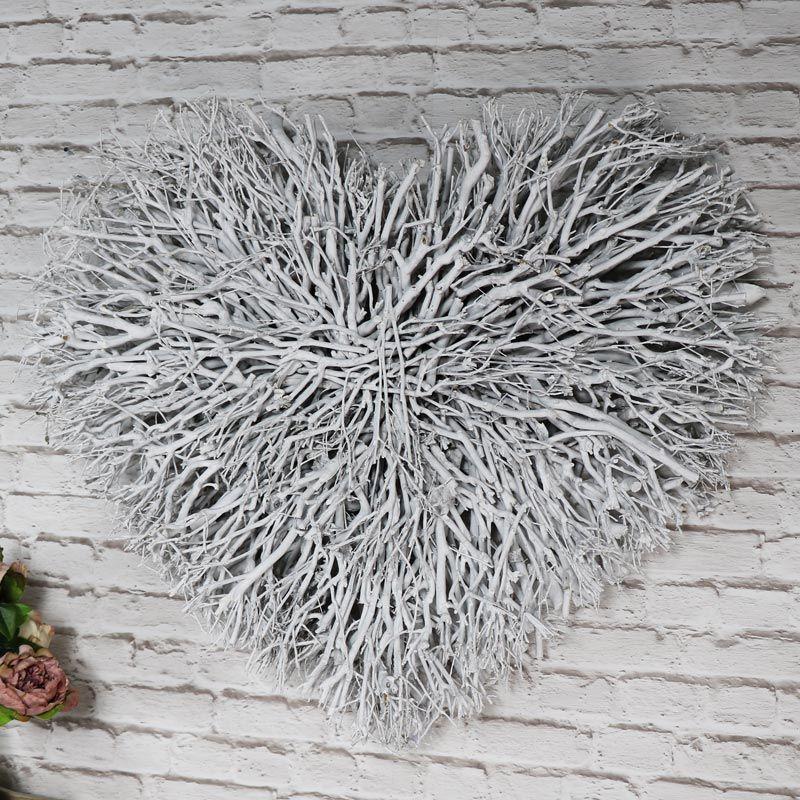 Large White Twig Heart Wall Art Heart Wall Decor Heart Wall Art Heart Wall