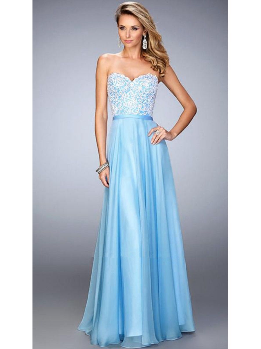 A-Line Sweetheart Long Blue Lace and Chiffon Party Evening Prom ...