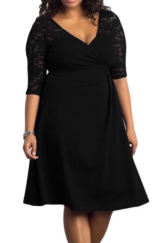 Robes Grandes Tailles Noir Lavish Dentelle Mi-Manche femme ronde sensuelle– Modebuy.com