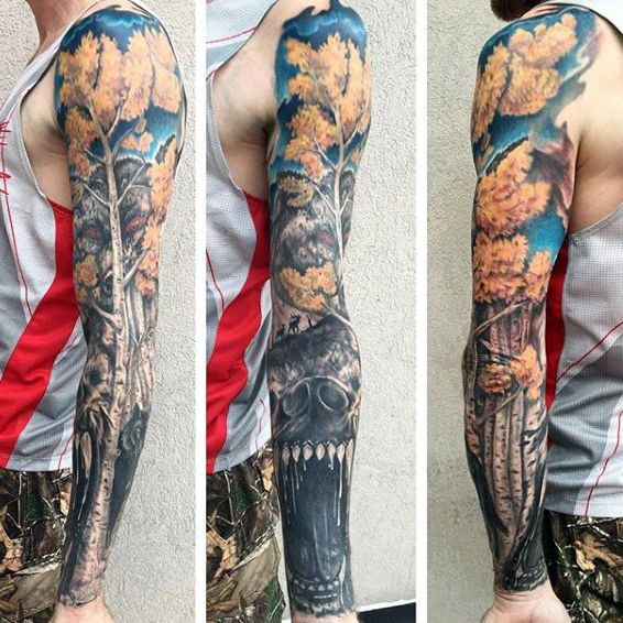 bear with tree badass mens tattoo sleeves tattoos pinterest mens tattoos tattoo and. Black Bedroom Furniture Sets. Home Design Ideas