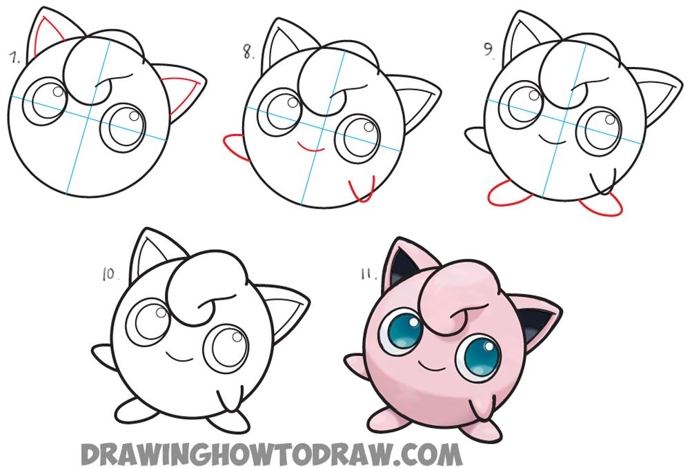 How to draw jigglypuff from pokemon easy step by step - Apprendre a dessiner pokemon ...