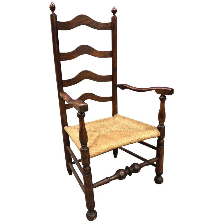 18th Century Philadelphia Ladder Back Armchair Turned Stretcher