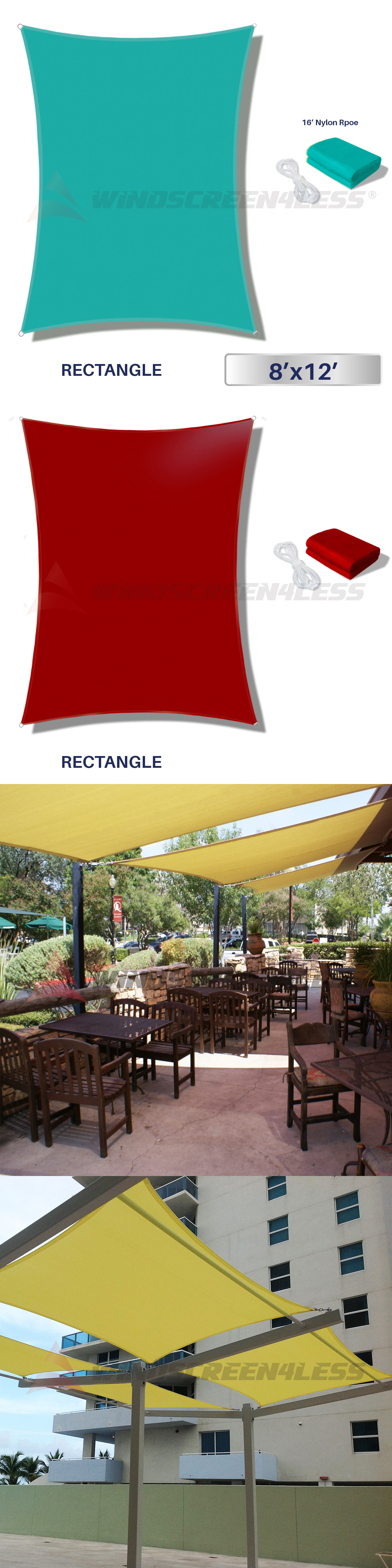 Other Structures and Shade 177026 8 X 12 Waterproof Sun Shade Sail Fabric Outdoor Canopy & Other Structures and Shade 177026: 8 X 12 Waterproof Sun Shade ...