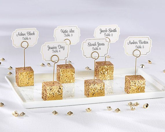 Gold Glitter Place Card Holders Wedding Table Name Silver Holder