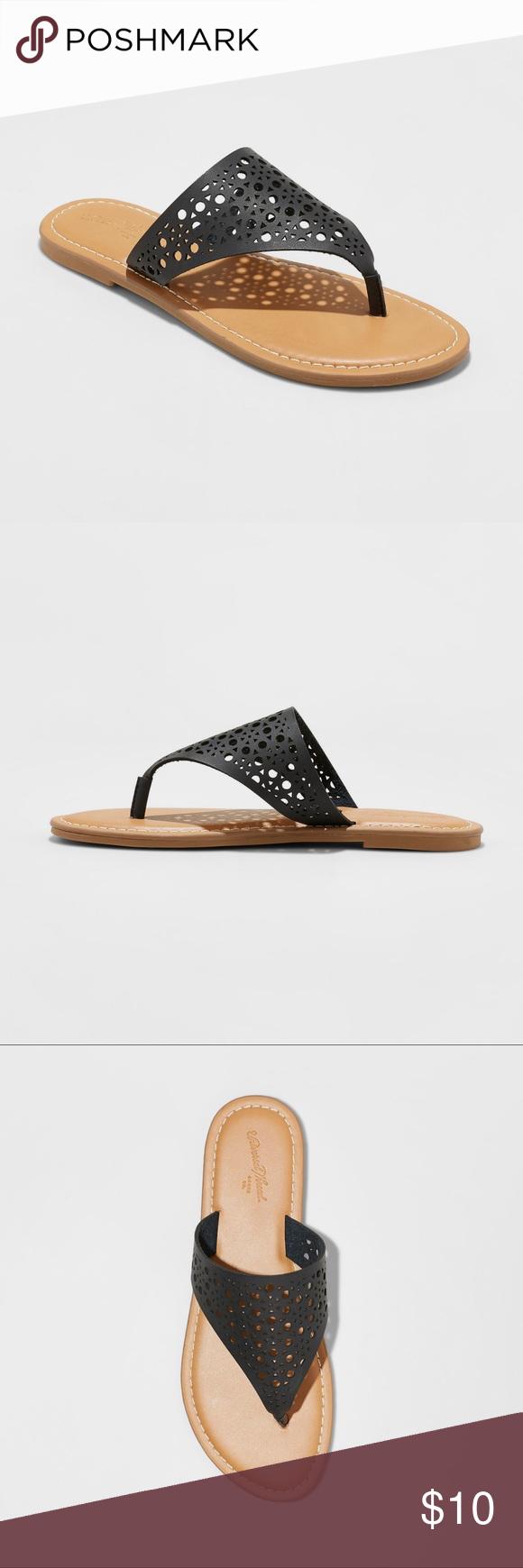 09e9a401baf Universal Thread  Kessa  Laser Cut Thong Sandals Universal Thread sandals  with a flat heel