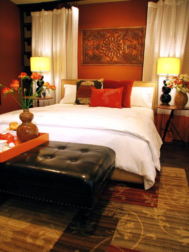 """captivating orange bedroom design ideas   I like this. The wall is orange but it doesn't """"scream"""" at ..."""