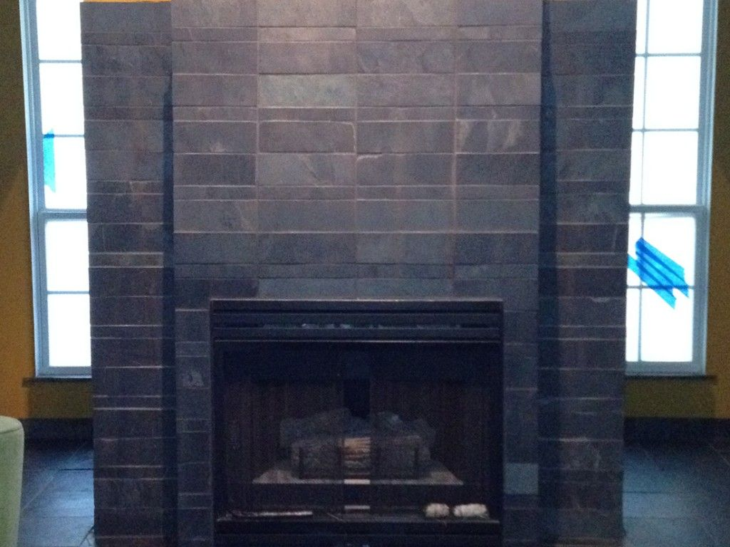 Tile slate fireplace design | Desk ideas | Pinterest | Slate ...