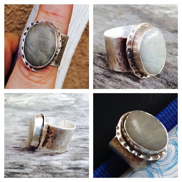 Sterling silver, fine silver and beach stone by Zona Sherman Designs.