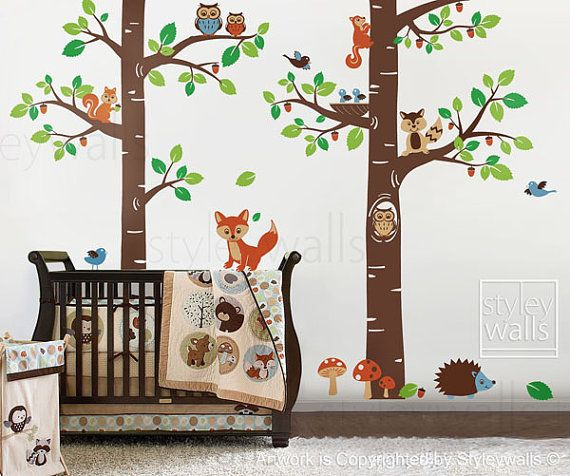 35 New WOODLAND FRIENDS WALL DECALS Forest Animals Stickers Baby Nursery Decor
