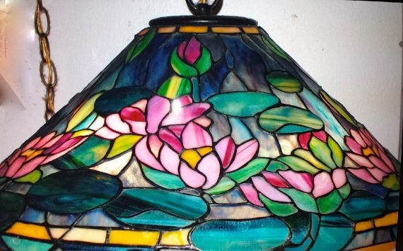 Tiffany style water lily stained glass lamp shade one of a kind tiffany style water lily stained glass lamp shade one of a kind art deco aloadofball Images