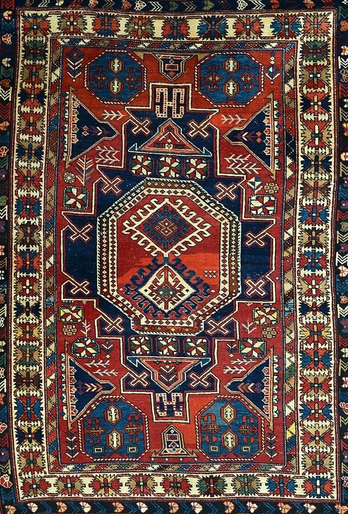 Caucasian Rug Central Medallion In A
