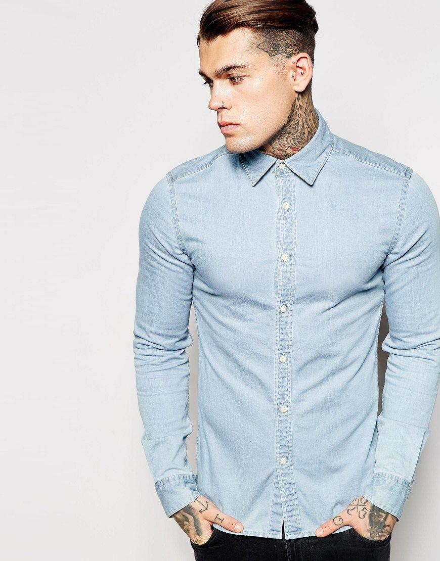 ASOS Skinny Denim Shirt in Bleach Wash with Long Sleeves