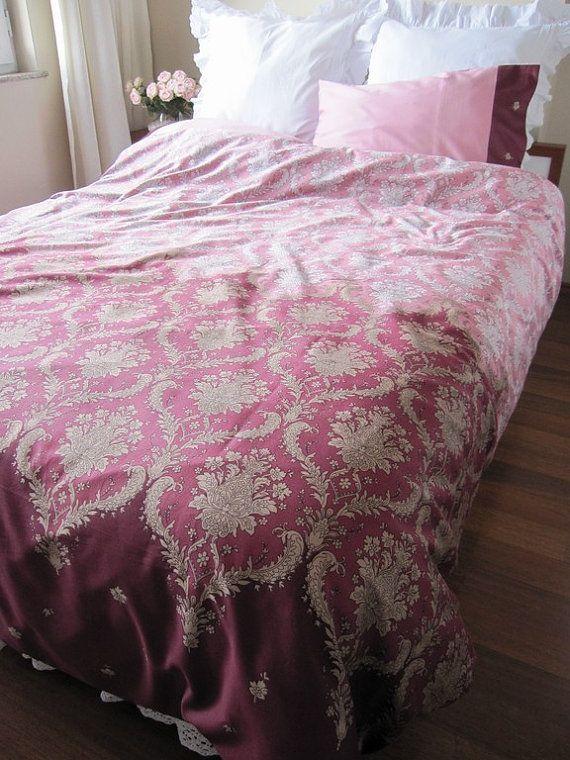 dusty pink burgundy damask print queen duvet cover sets custom bedding romantic bedroom new. Black Bedroom Furniture Sets. Home Design Ideas